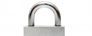 Silver padlock isolated on the white background